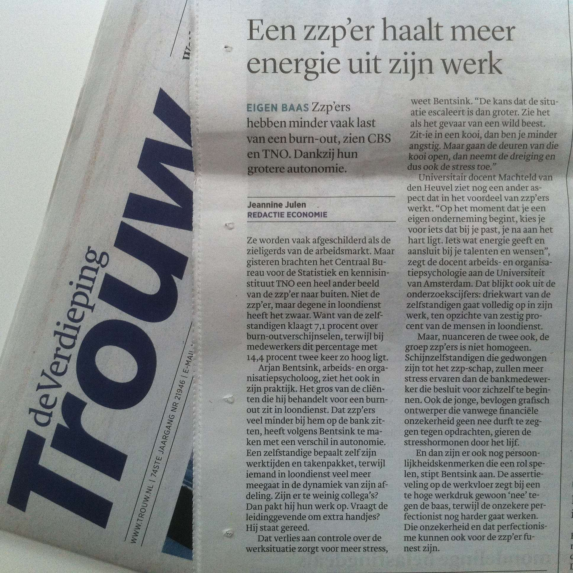 interview Trouw burn-out Psycholoog Bentsink